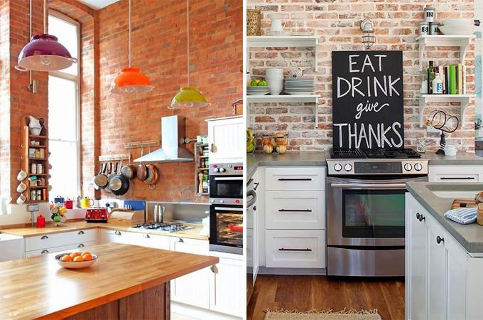cozinha com tijolo